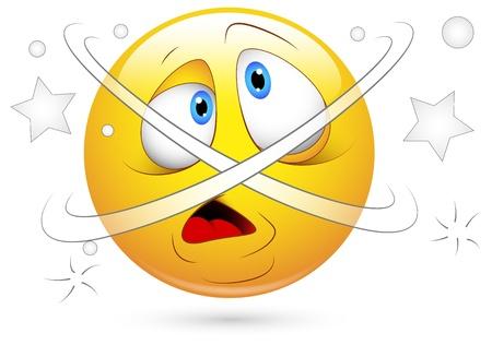 ersch�pft: Smiley Vector Illustration - Schwindel Confused Illustration