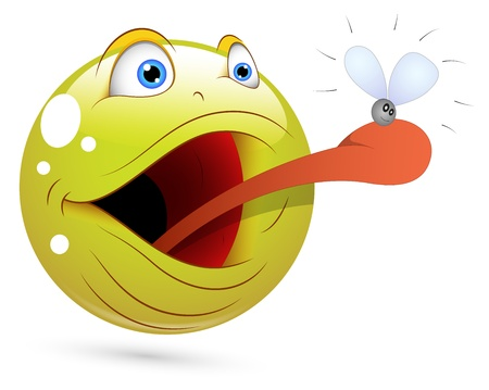 Smiley Vector Illustration - Frog Catching Fly Face Stock Vector - 18243418
