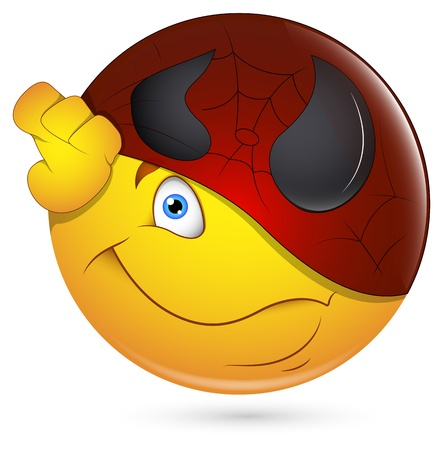 Smiley Vector Illustration - Being Super Hero Face Vector