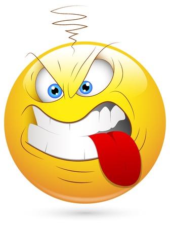 smiley: Smiley Vector Illustratie - Agressieve Gezicht Stock Illustratie