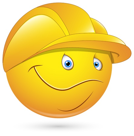 man face profile: Smiley Vector Illustration - Constructional Worker