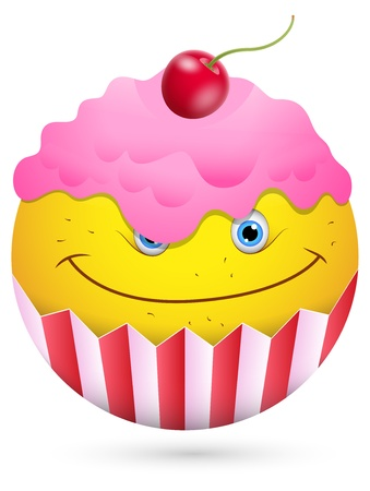 Smiley Vector Illustration - Ice Cream Face Vector