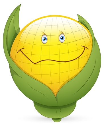 cuteness: Smiley Vector Illustration - Corn Face Illustration