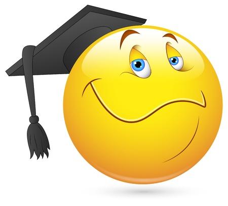 cara sonriente: Smiley del vector - Face Graduate