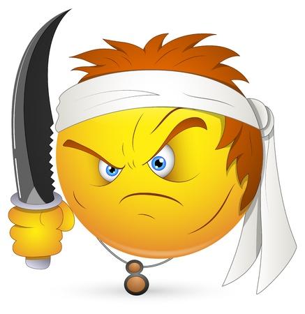 mann bad: Smiley Vector Illustration - Kung Fu-Krieger Gesicht