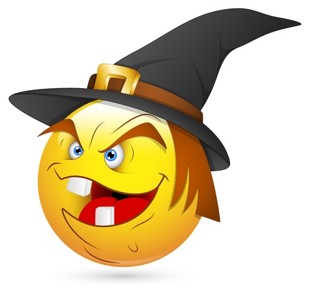3d scary: Smiley Vector Illustration - Witch Face Illustration