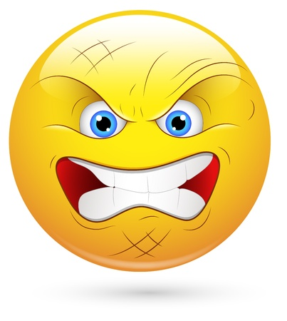 naughty: Smiley Vector Illustration - Angry Player Face Illustration