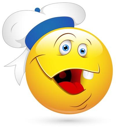 facial gestures: Smiley Vector Illustration - Sailor Face