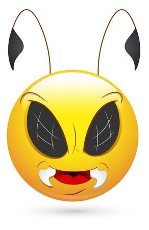 Smiley Vector Illustration - Evil Bee Face Vector