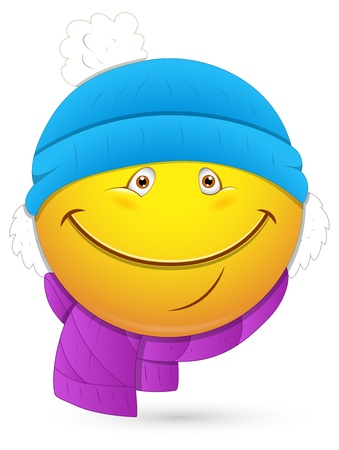 emoticons: Smiley Vector Illustration - Winter Costume Face