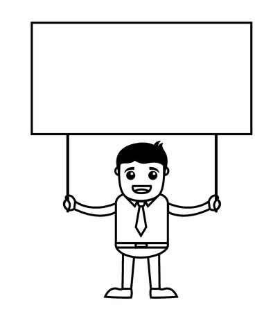 Office Vector Cartoon Character Illustration - Holding a Banner Vector