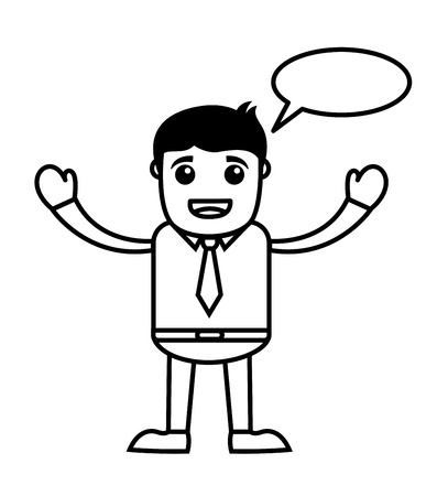 Talking Office Vector Cartoon Character Illustration - Speech Bubble Stock Vector - 19284878