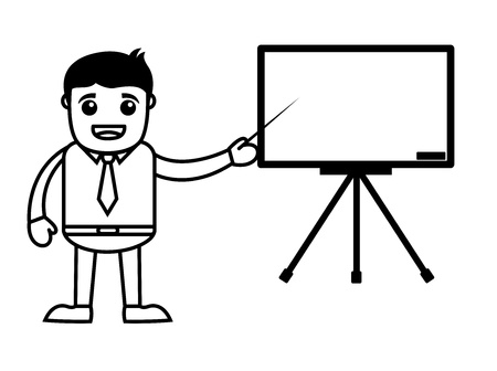 Office Vector Cartoon Character Illustration - Showing Slide Presentation Stock Vector - 19284882
