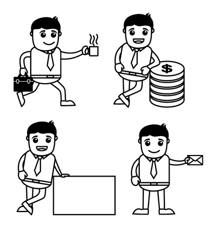 Office Worker Cartoon - E-mail, Currency, Banner and Coffee Illustration