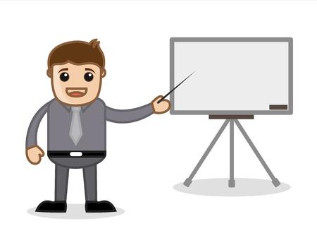 diaporama: Bureau et les affaires de dessin anim� Vector Illustration - Pr�sentation d'un diaporama