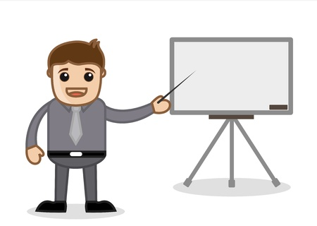 slideshow: Office and Business Cartoon Character Vector  Illustration - Presenting a Slideshow Stock Photo