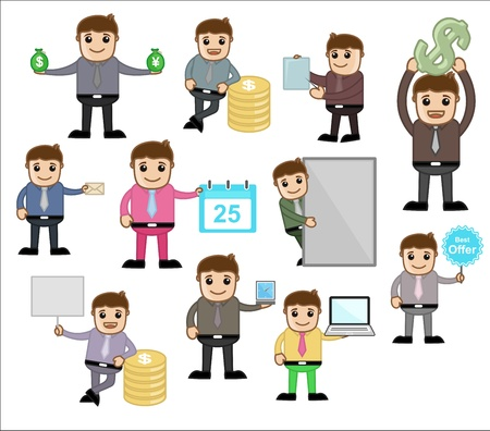 Various Concepts   Poses - Office and Business Cartoon Character Vector Illustration illustration