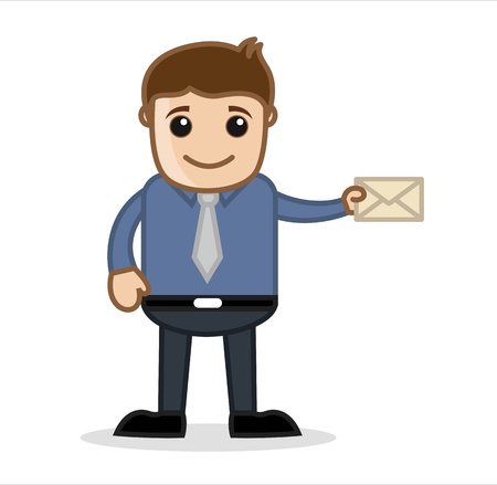 Holding an Envelope - Office and Business Cartoon Character Vector Illustration Concept   Pose Stock Illustration - 19284915
