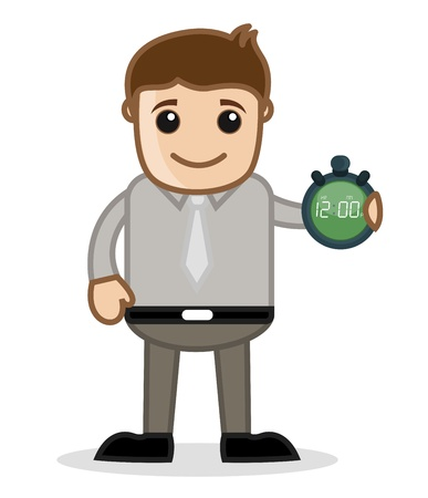 Showing Time - Office and Business People Cartoon Character Vector Illustration Concept illustration