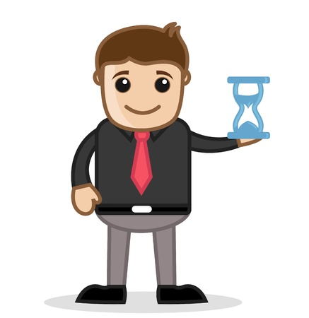 sand watch: With Sand Watch - Office and Business People Cartoon Character Vector Illustration Concept