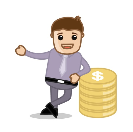 With Money - Office and Business People Cartoon Character Vector Illustration Concept illustration