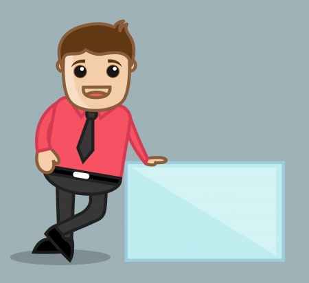 With Banner - Office and Business People Cartoon Character Vector Illustration Concept illustration