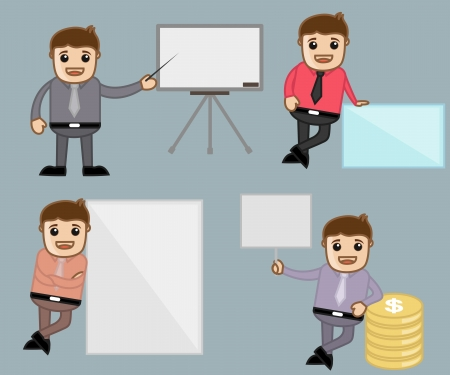 Various Poses - Office and Business People Cartoon Character Vector Illustration Concept illustration