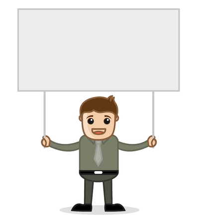 Man Holding a Banner - Office and Business People Cartoon Character Vector Illustration Concept illustration