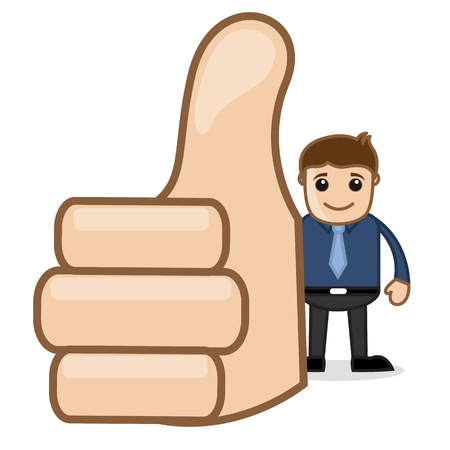 achievement clip art: Office and Business Cartoon Character Vector  Illustration - Showing Thumbs Up