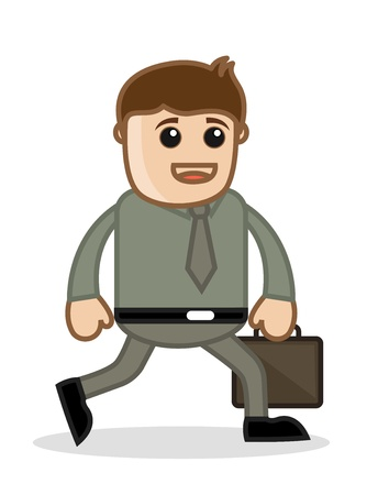 Man Walking - Office and Business People Cartoon Character Vector Illustration Concept Stock Illustration - 19284949