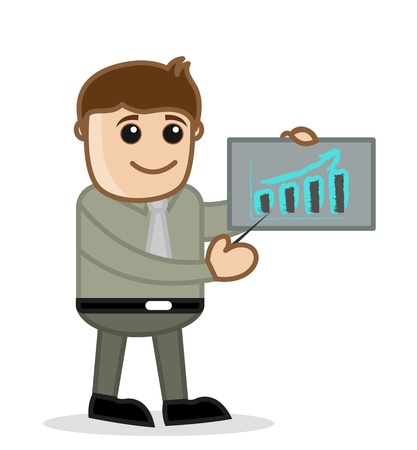 financial official: Graph Bar - Office and Business People Cartoon Character Vector Illustration Concept Stock Photo