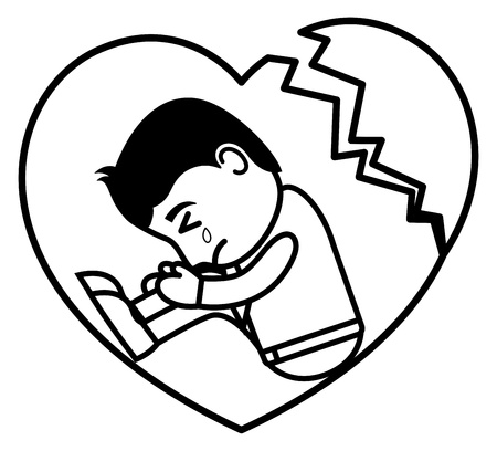 heart clipart: Broken Heart Sad - Office and Business People Cartoon Character  Illustration Concept