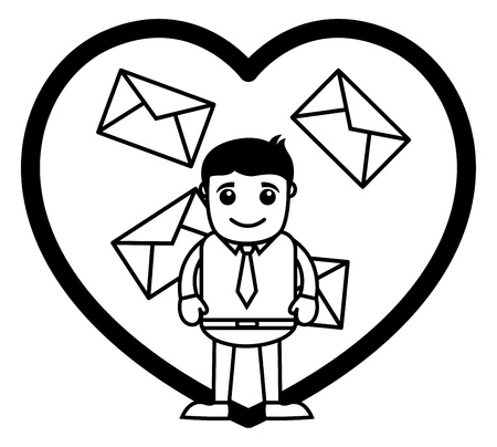 to confess love: Love Letters - Office and Business People Cartoon Character  Illustration Concept
