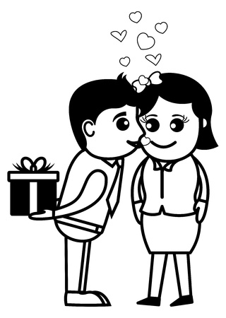 to confess love: Surprise Love Gift - Office and Business People Cartoon Character  Illustration Concept
