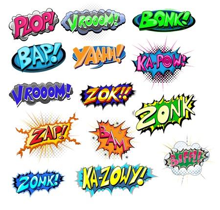 Explosieve Grappig Comic Expression tekst Stock Illustratie