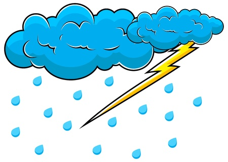 Comic Clouds with Thunder   Vector