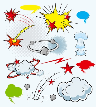 Comic Explosion Cloud Burst Expressions  Illustration Stock Vector - 19419768