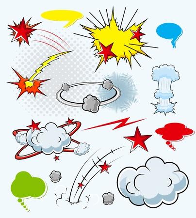 Comic Explosion Cloud Burst Expressions  Illustration Stock Vector - 19419768