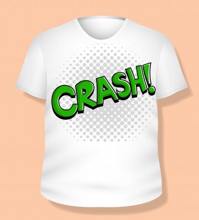 Crash White T-shirt Design  Illustration Template Stock Vector - 19419821