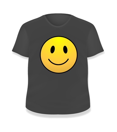 Smiley Black T-shirt Design  Illustration Template Stock Vector - 19419801