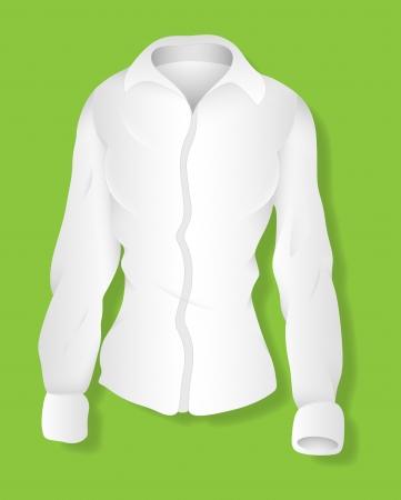 White Long Sleeves Female Shirt Design  Illustration Template Stock Vector - 19419785