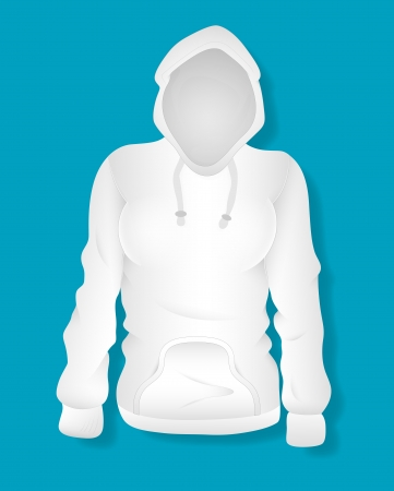 White Female Hoodie Design  Illustration Template Vector