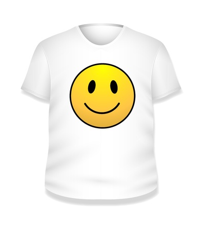 Smiley Happy White T-shirt Design  Illustration Template Stock Vector - 19419800