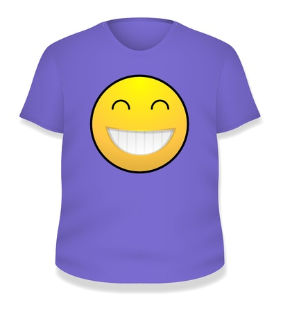 Purple Smiley White T-shirt Design  Illustration Template Stock Vector - 19419804