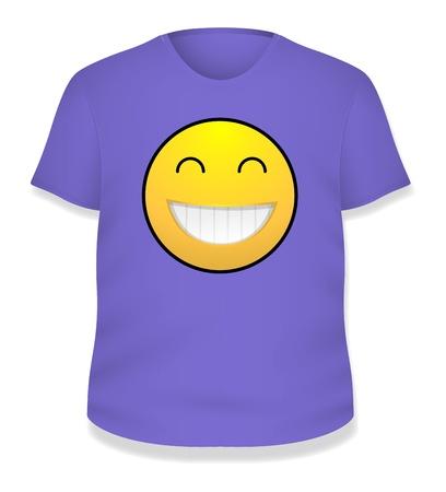 Purple Smiley White T-shirt Design  Illustration Template Stock Vector - 19419804