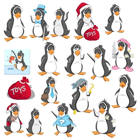 Cartoon Penguin  Illustration Set Vector
