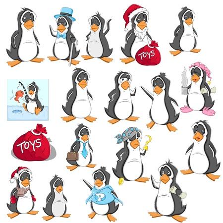 sleepily: Cartoon Penguin  Illustration Set