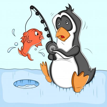 Fishing Cartoon Penguin  Illustration Vector