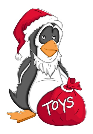 Santa Cartoon Penguin  Illustration Vector