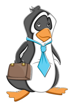 Office Cartoon Penguin  Illustration Vector